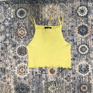 Forever 21 yellow smocked crop top